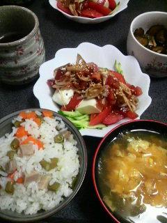 豆腐のトマトキュウリサラダ