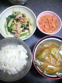 豚肉とシメジと小松菜のマヨ炒め