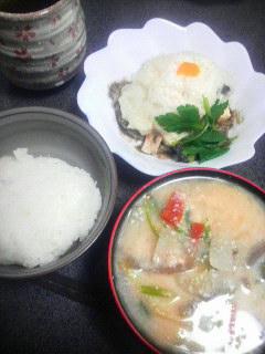 ぶりと豆腐のとろろ蒸し