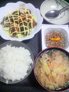さば味噌缶マヨキャベ焼き